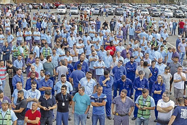 Última Assembleia sindical no pátio da Ford, em São Bernardo do Campo (Foto: Adonis Guerra/SMABC)