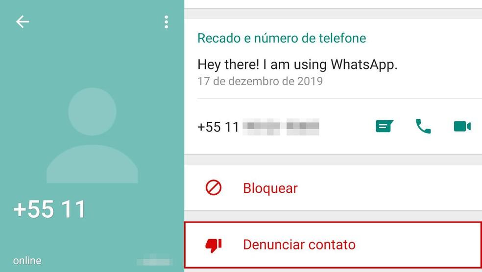 Opção para denunciar contato está disponível na tela de visualização de dados do contato. — Foto: Reprodução