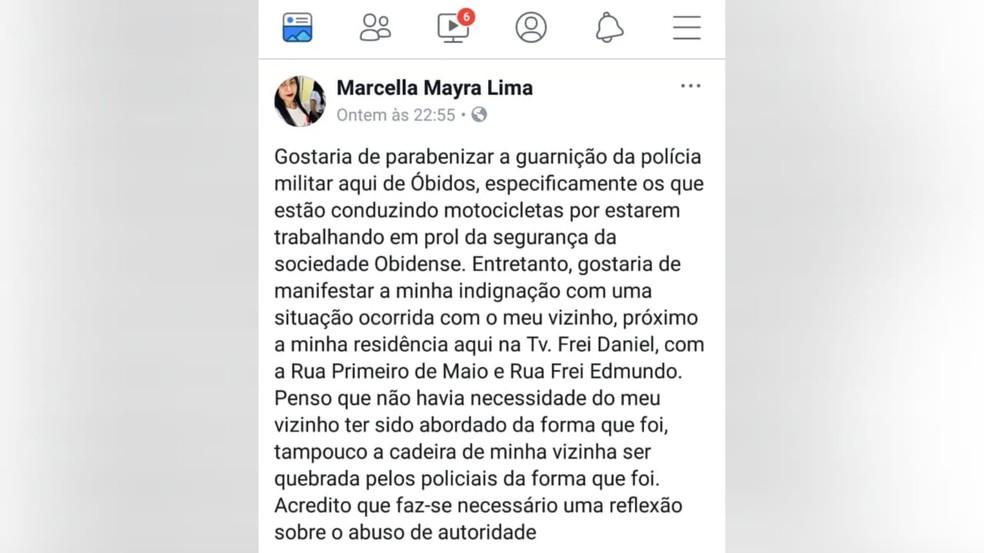 Moradora denunciou nas redes sociais maneira como vizinho foi abordado por militares  — Foto: Reprodução/Facebook Marcella Mayra Lima