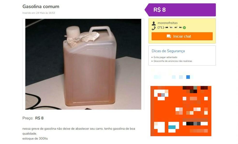 Gasolina é anunciada em site de vendas por anunciante que diz ser de Salvador (Foto: Reprodução/Site OLX)