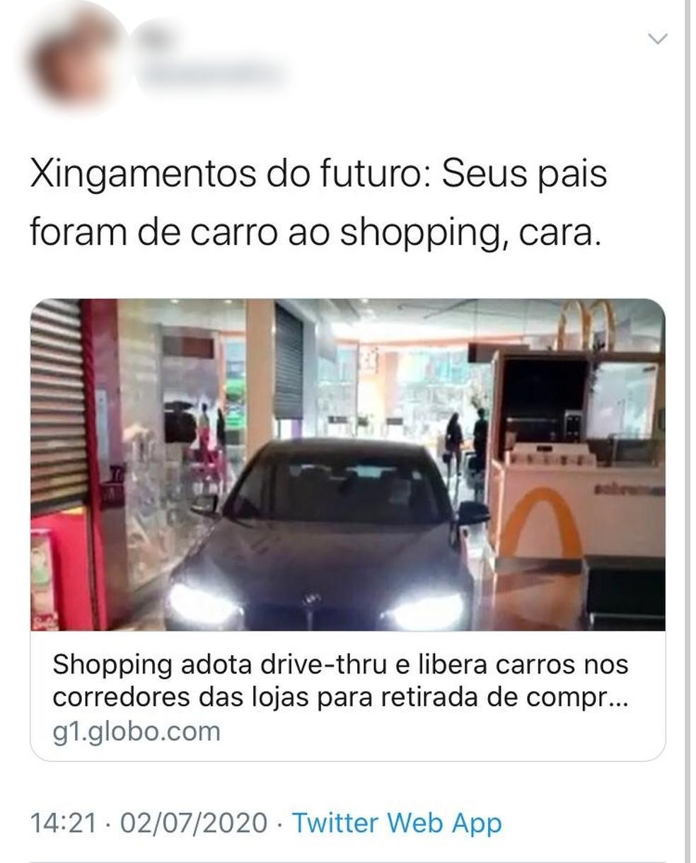 Usuários se manifestaram nas redes sociais sobre carros no shopping de Botucatu — Foto: Twitter/Reprodução