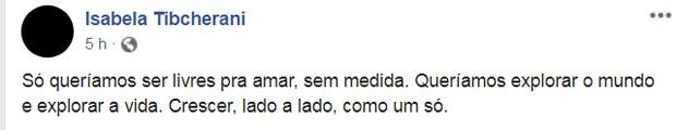 Post de Isabela Tibcherani, namorada de Rafael Miguel, em rede social (Foto: Reprodução/Facebook)