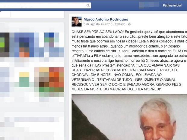 História de Cesário e Fila ganhou as redes sociais (Foto: Reprodução /Facebook)