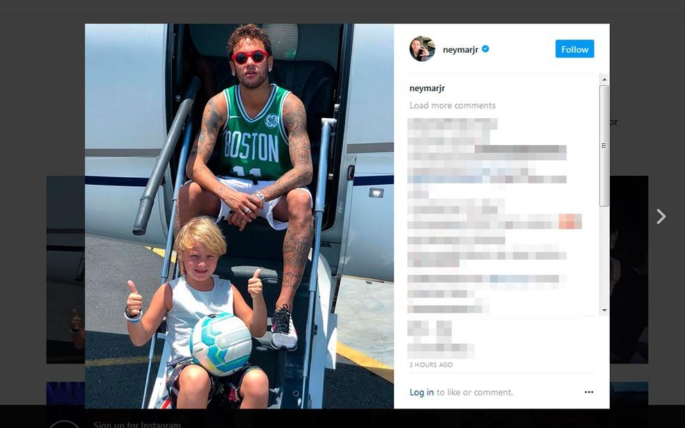 Neymar postou foto antes de embarcar no jatinho com o filho (Foto: Reprodução/Instagram)