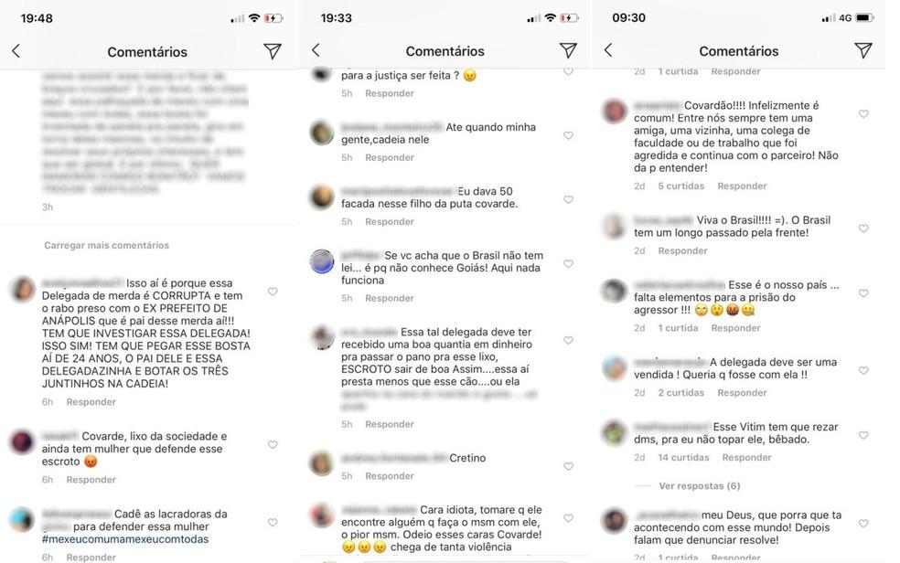 Postagens ofensivas feitas contra delegada que investiga agressão de piloto contra namorada — Foto: Reprodução