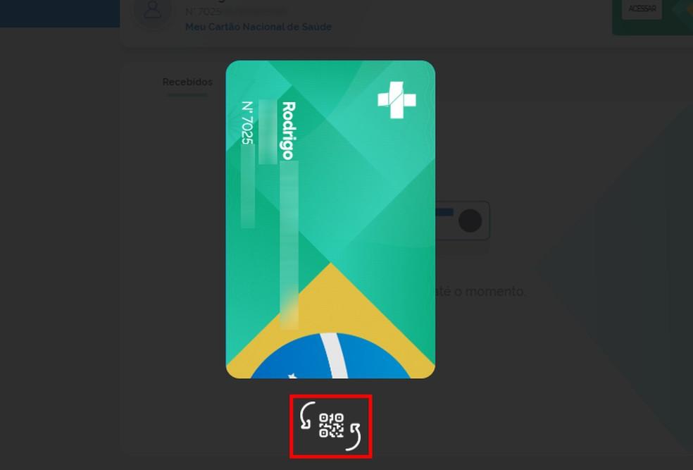 Meu DigiSUS mostra Cartão do SUS digital — Foto: Reprodução/Rodrigo Fernandes