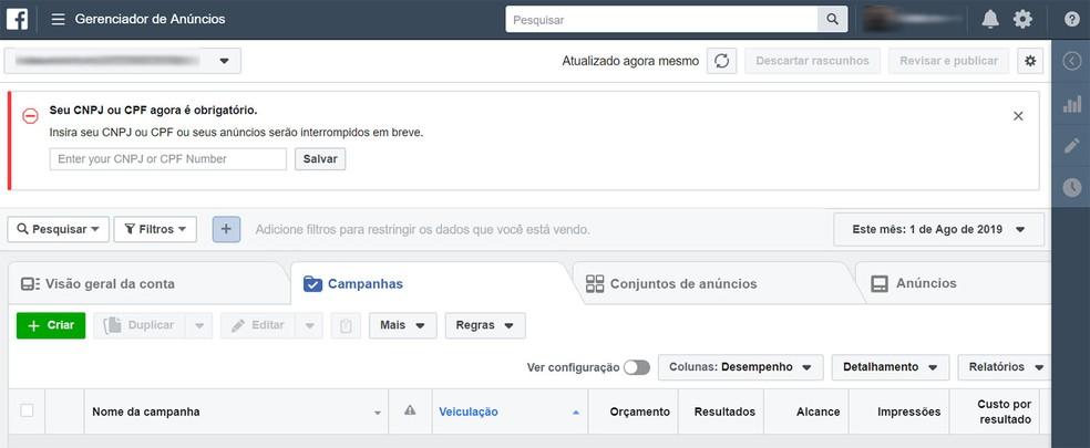 Gerenciador de anúncios do Facebook, onde ficam registradas as campanhas feitas a partir de um perfil — Foto: Reprodução