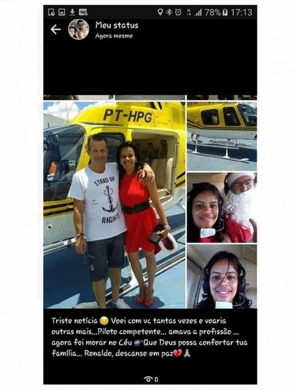 Fabiana Almeida postou fotos em homenagem a Ronaldo, que a levou de helicóptero como Mamãe-Noel — Foto: Divulgação/Arquivo pessoal