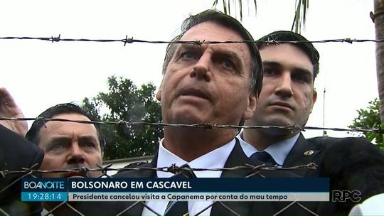Bolsonaro em Cascavel: presidente cancelou visita a Capanema por conta do mau tempo