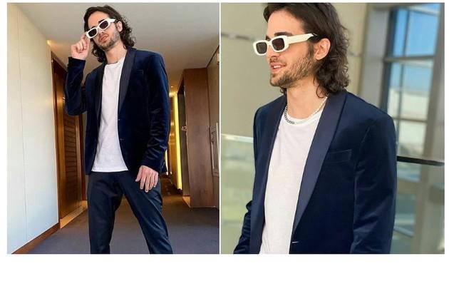 Fiuk gravou o 'Lady night' de terno de veludo. O ator é um dos ex-BBBs que serão entrevistados (Foto: Reprodução/Twitter)