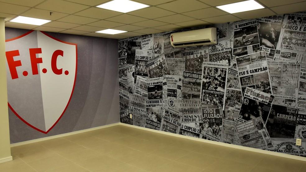 Nova sala de imprensa do Fluminense — Foto: Mailson Santana / FFC