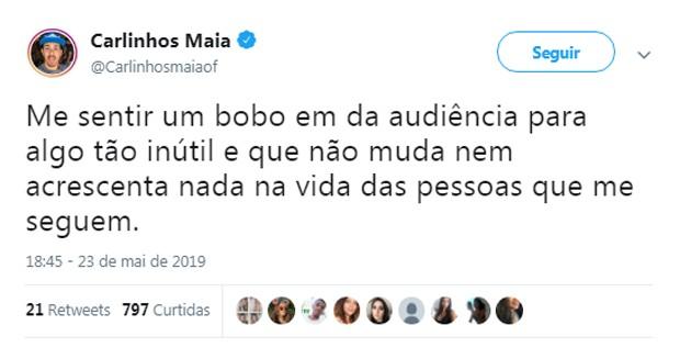 Carlinhos Maia pede desculpas por discussão (Foto: Reprodução/Twitter)