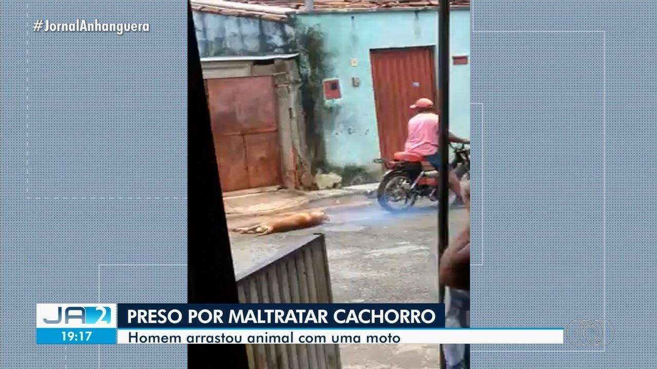 Homem é preso suspeito de arrastar cachorro em um moto, em Inhumas