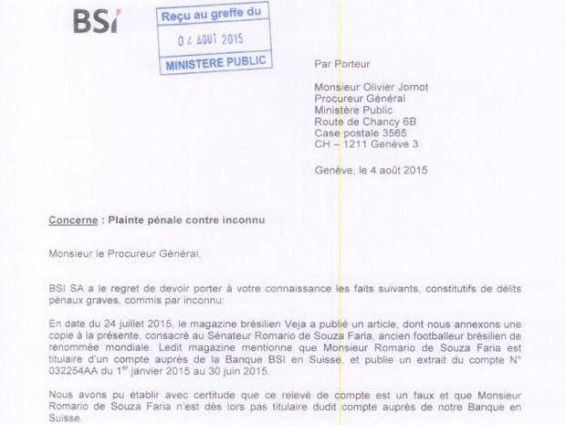 Nota de banco suíço confirma que extrato de revista é falso (Foto: Reprodução/cdn.romario.org)