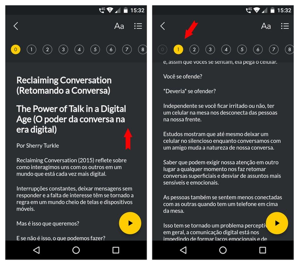 Leitura no app Esens é simples e permite que usuário avance de maneira simples os resumos — Foto: Reprodução/Adriano