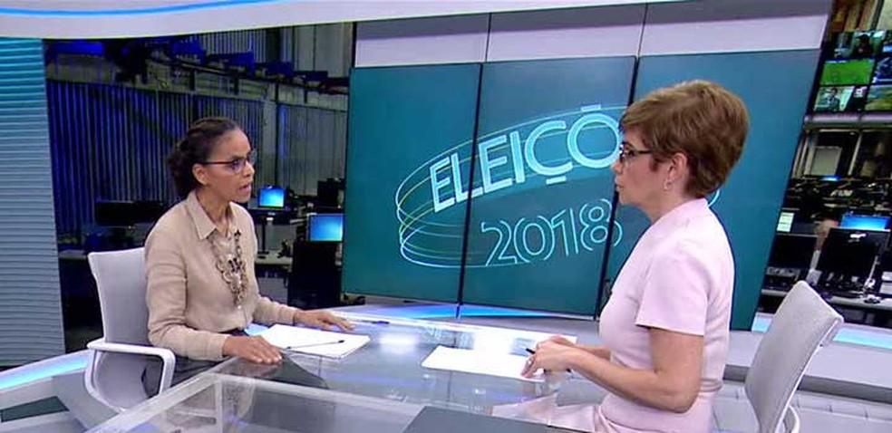 Marina Silva durante entrevista ao Jornal da Globo — Foto: Reprodução / TV Globo