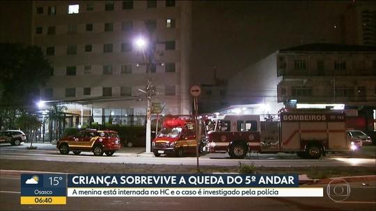 Polícia investiga queda de criança de 4 anos de prédio em SP