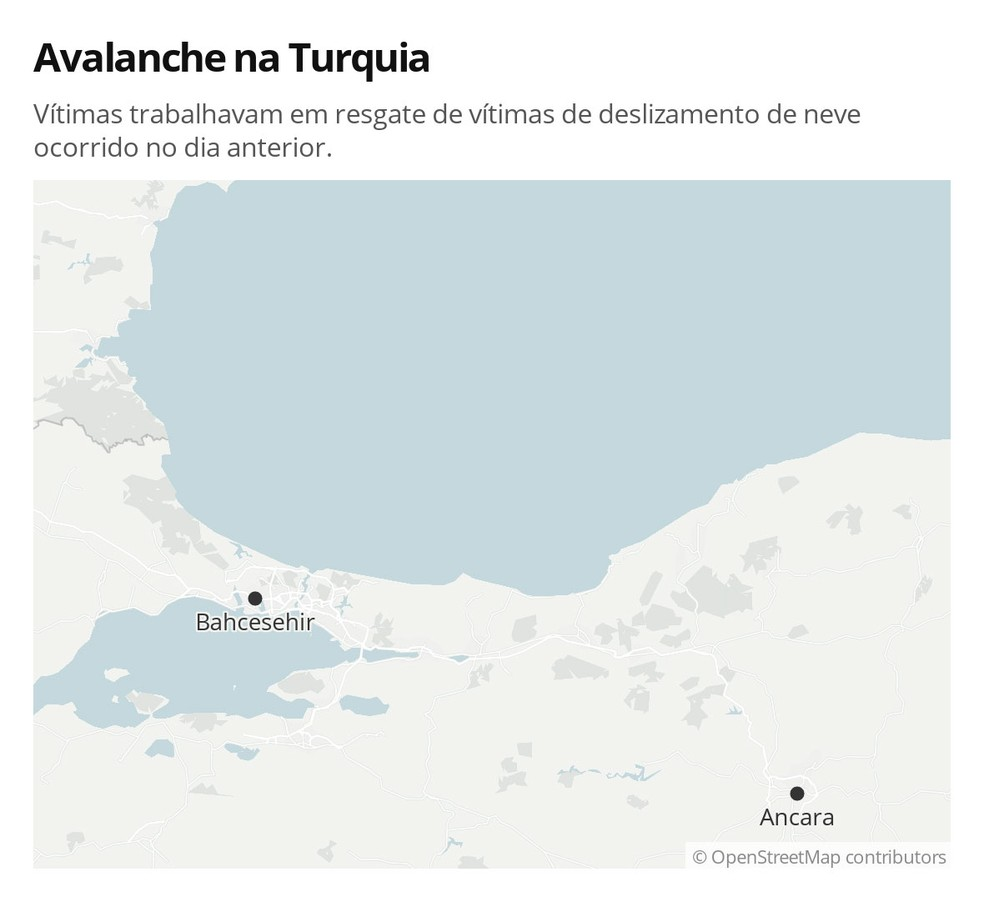 Mapa mostra cidade na Turquia onde avalanche deixou mortos nesta quarta-feira (5) — Foto: G 1