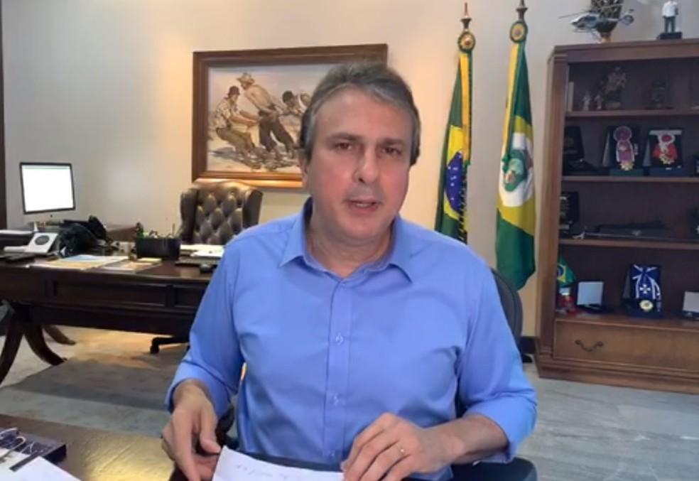 Governador Camilo Santana anuncia pacote de benefícios para categorias mais atingidas pela crise do coronavírus — Foto: Reprodução
