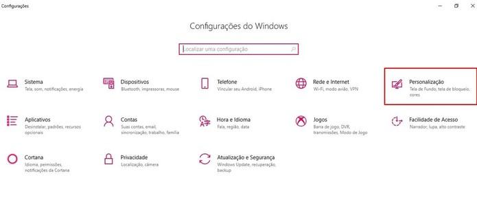 """Clique no item """"Personalização"""" do Windows 10 (Foto: Reprodução/Taysa Coelho)"""