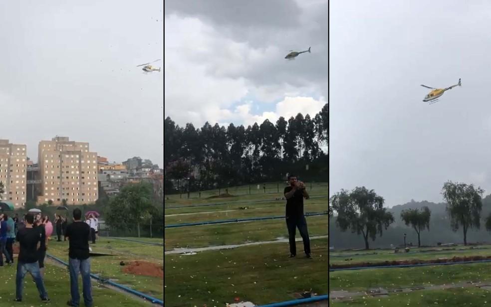 Helicóptero de Quattrucci sobrevoa enterro — Foto: Reprodução/Facebook