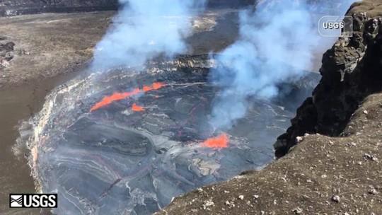 Vídeo mostra possível acúmulo de lava no vulcão Kilauea, no Havaí