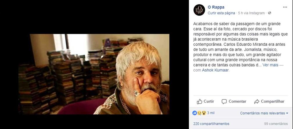 O Rappa também lamentou a morte do produtor (Foto: Reprodução / Facebook / O Rappa)