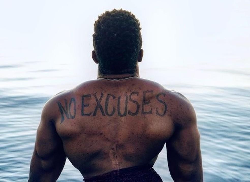 Zion Clark tatuou a frase que norteia a sua vida — Foto: Arquivo Pessoal