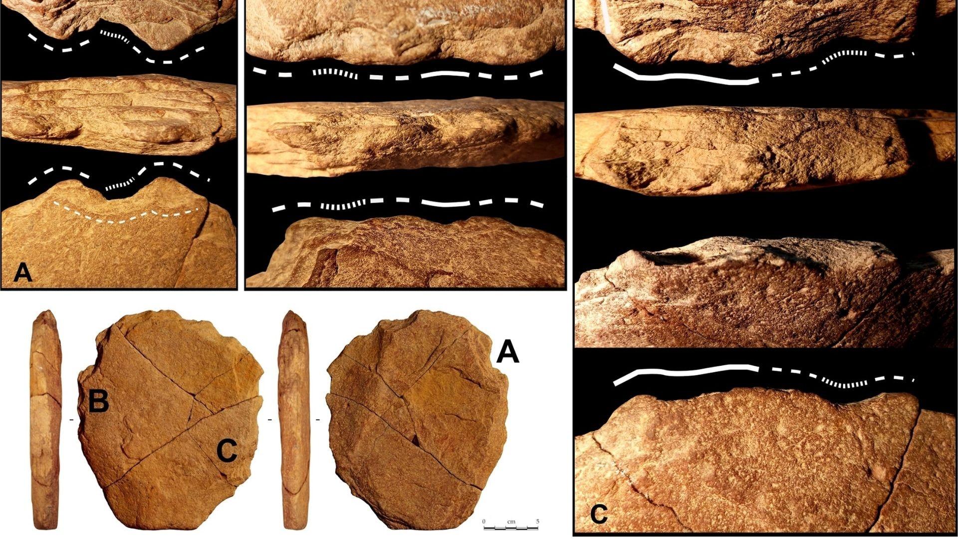 Ferramenta de pedra encontrada no local mede 21 por 18,5 centímetros (cm) e tem 2,9 cm de espessura (Foto: Eric Boëda et.al )
