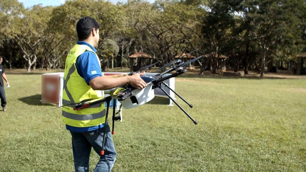 Empresa negocia com Anac e Decea primeiro serviço de entrega de comida por drone em projeto piloto em Campinas — Foto: André Alves e Eduardo Yamanaka/Nectar Audiovisual