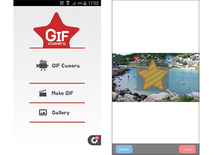 GIF Camera permite colocar stickers nas animações (Foto: Reprodução/Barbara Mannara)