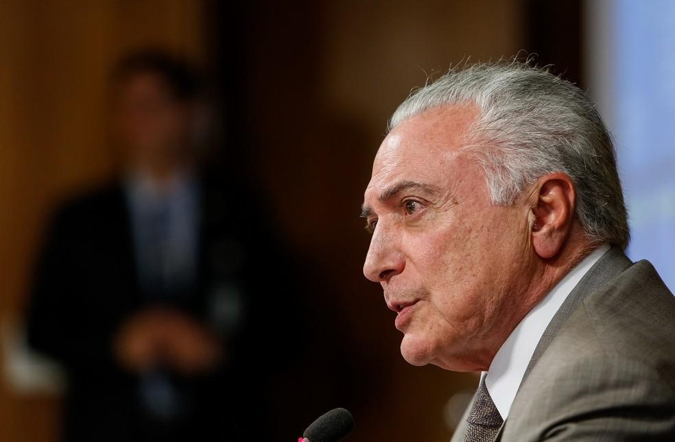 O presidente Michel Temer, durante reunião no Palácio do Planalto (Foto: Alan Santos / PR)
