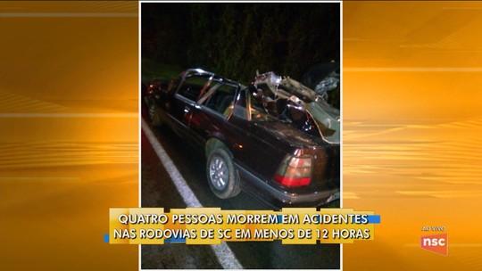 Ao menos 10 pessoas morrem em acidentes em SC no fim de semana