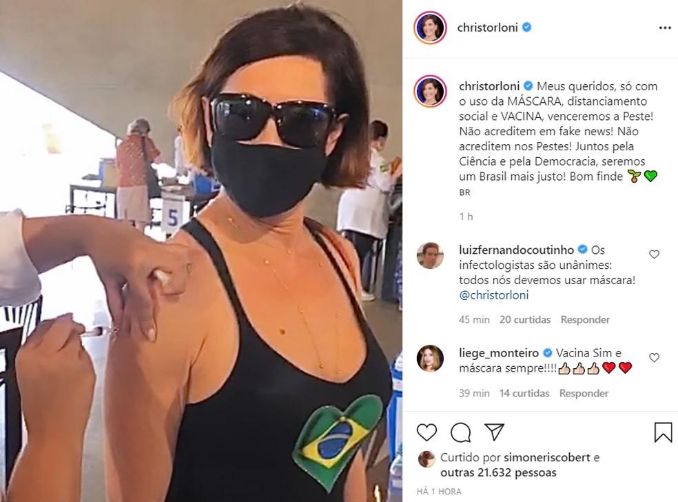 Christiane Torloni fez um post pedindo que as pessoas continuem usando máscara — Foto: Reprodução/Instagram/Christiane Torloni