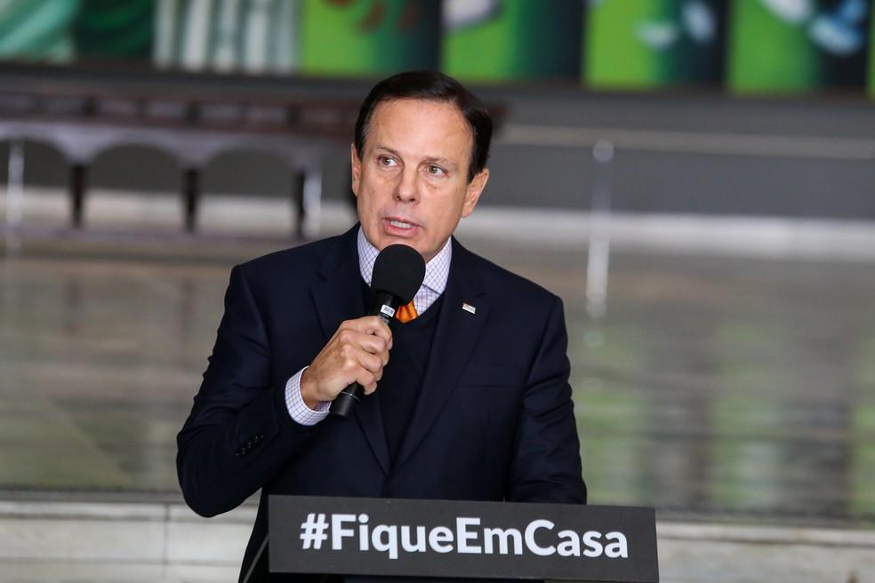 O governador João Doria em coletiva no Palácio dos Bandeirantes, na capital paulista. — Foto: Divulgação/Governo do Estado de SP