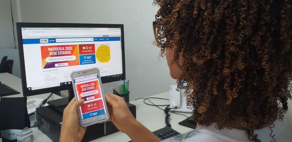 Matrícula na rede estadual começa dia 20 de janeiro e pode ser feita 100% online — Foto: Cláudia Oliveira/ASCOM SEC