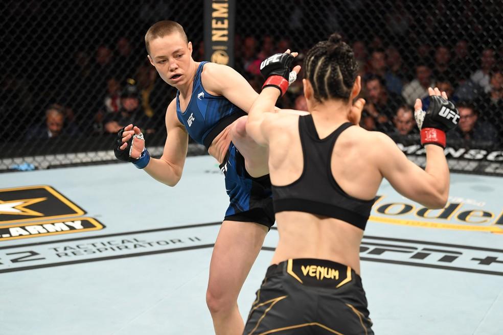 Rose Namajunas venceu Weili Zhang por nocaute com 1m18s do R1 — Foto: Getty Images