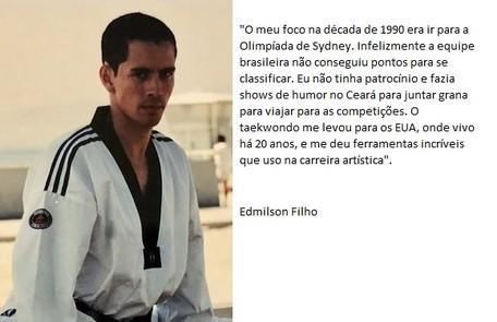 Protagonista da série 'Cine Holliúdy', Edmilson Filho é mestre 5º grau em Taekwondo e tricampeão brasileiro no esporte, tendo passado pela seleção nacional entre 1999 e 2000 Arquivo pessoal