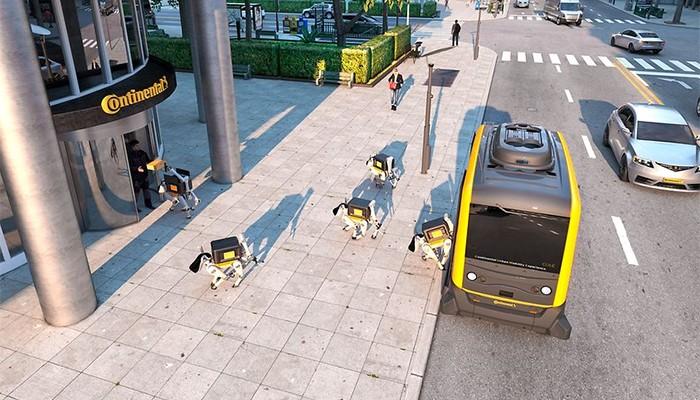A entrega seria feita por uma combinação entre veículos autônomos e cachorros robôs (Foto: Divulgação/Continental)