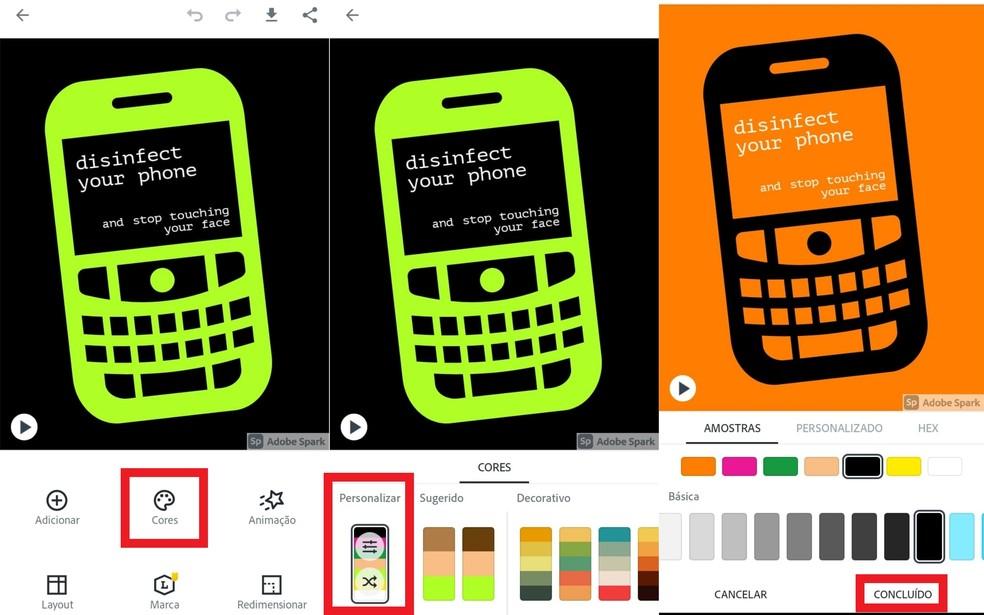 """Modifique as cores tocando sobre a opção e, em seguida, sobre """"Personalizar"""" — Foto: Reprodução/Clara Fabro"""