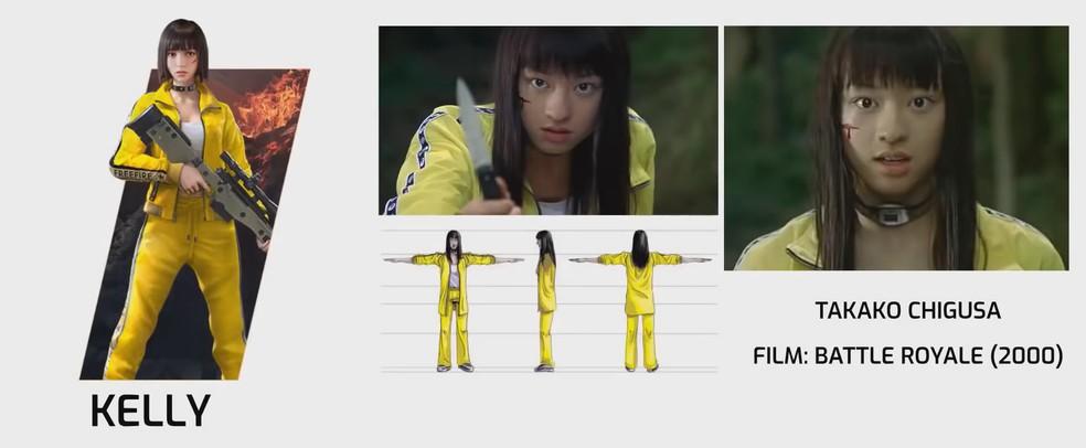 Kelly possui até um corte no rosto semelhante a de Takako Chigusa, do filme Battle Royale, lançado em 2000 — Foto: Reprodução/YouTube Momento Booyah
