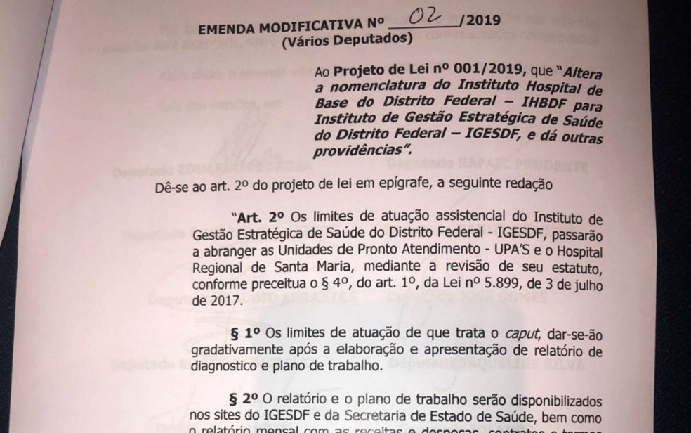 Emenda aprovada reduz atuação do novo instituto a UPAs e ao Hospital Regional de Santa Maria, além do Hospital de Base — Foto: Letícia Carvalho/G1
