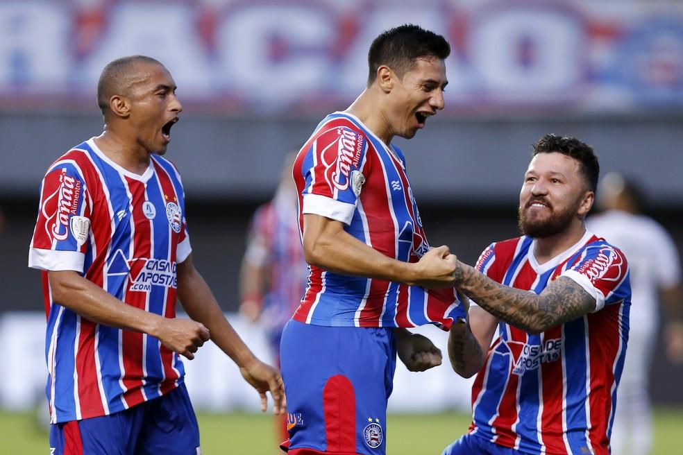 Oscar Ruiz comemora primeiro gol pelo Bahia  — Foto: Felipe Oliveira/Divulgação/E.C. Bahia