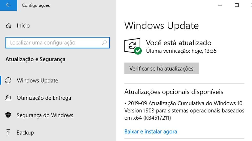 Mantenha o Windows atualizado — Foto: Reprodução/Paulo Alves