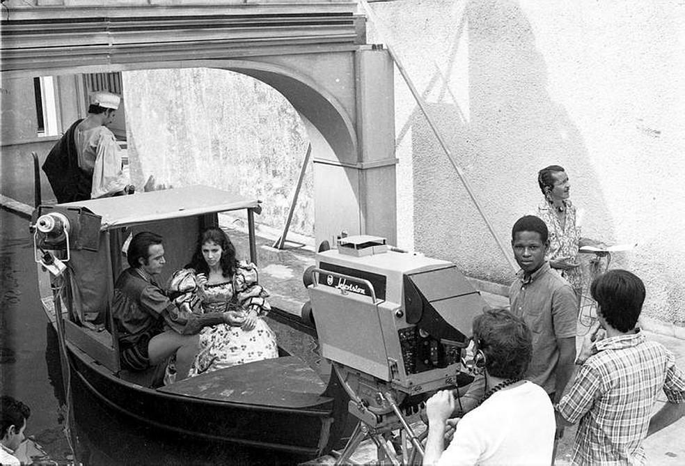 Na novela 'A Ponte dos Suspiros', o canal de Veneza foi reproduzido na cobertura do prédio da TV Globo, no Jardim Botânico, no Rio de Janeiro — Foto: Acervo/TV Globo