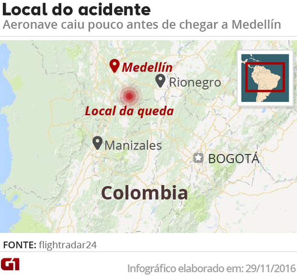 Local do acidente com aeronave da Chapecoense (Foto: Editoria de Arte/G1)