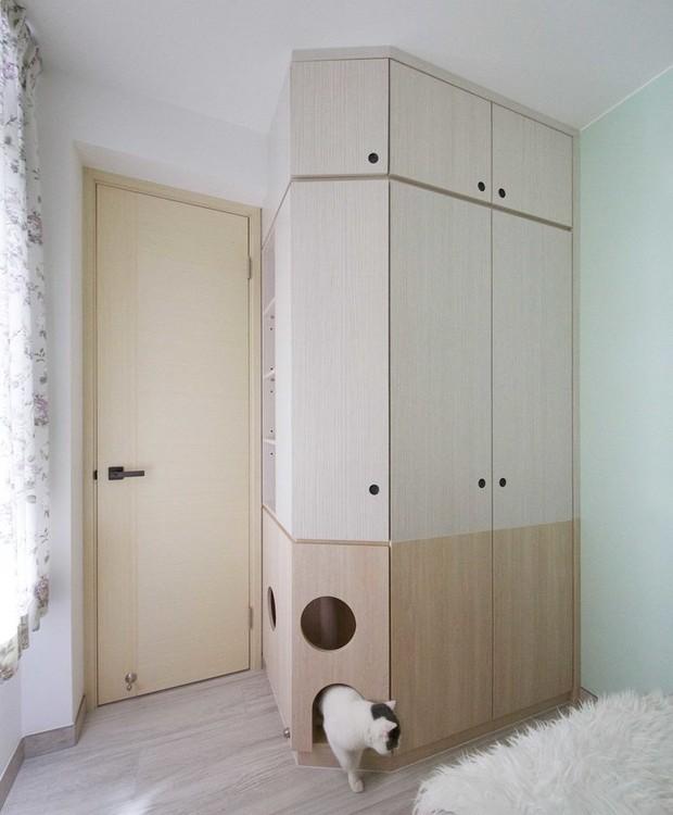 A marcenaria do quarto é armário e playground para o gato (Foto: Sim-Plex/ Reprodução)