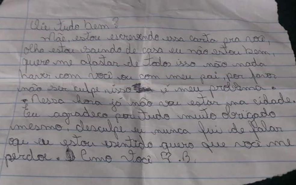 Carta deixada por Breno Tsidowi Xavante antes de fugir — Foto: Alice Dayane Silva/Arquivo Pessoal