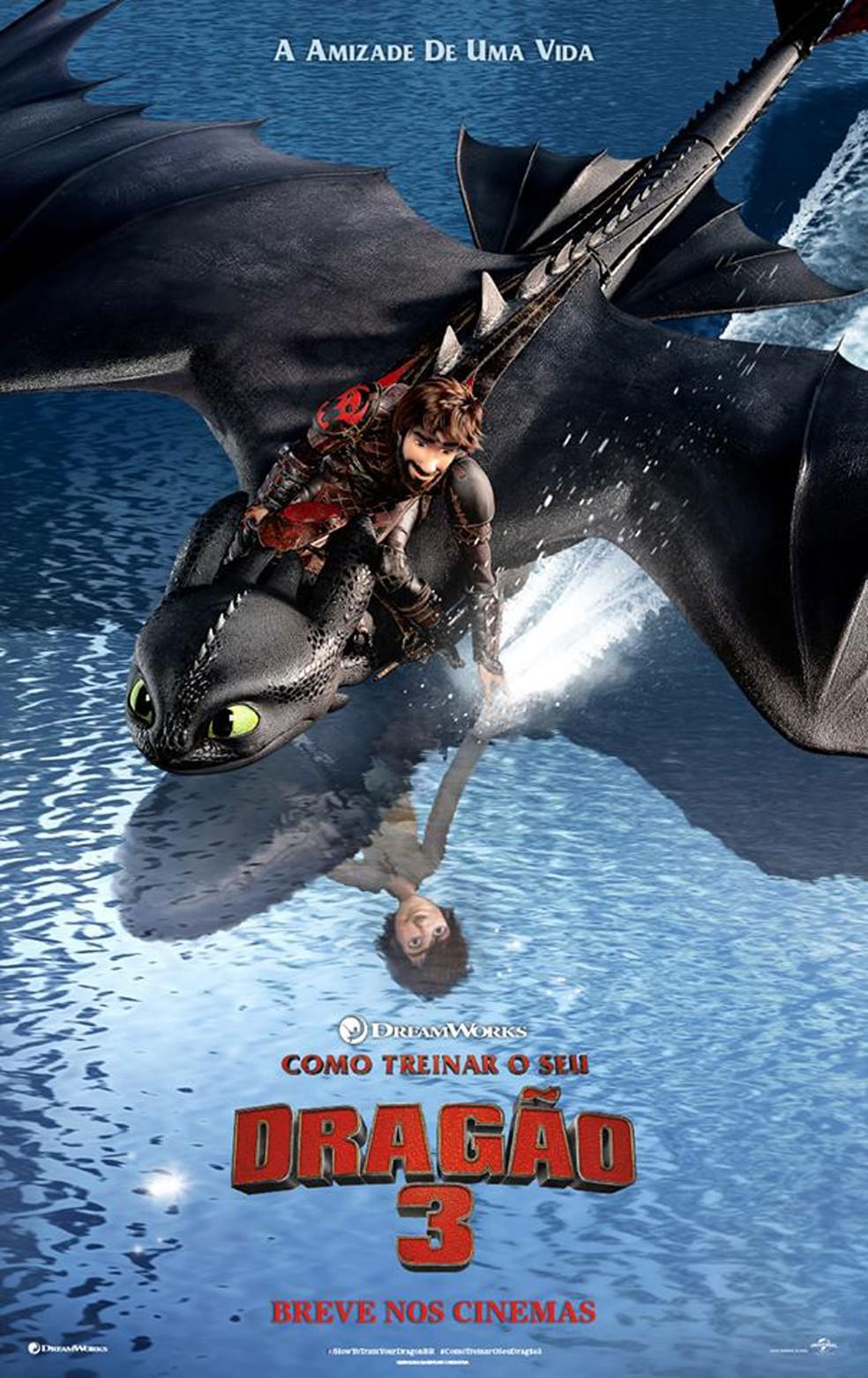 Cartaz da animação 'Como treinar o seu dragão 3' (Foto: Divulgação)