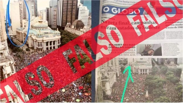 Image caption A capa do jornal O Globo é verdadeira; falsa é a versão de que a foto do jornal estava incorreta - quem circulou o lugar onde deveria haver um prédio estava incorreto em sua versão (Foto: BBC News Brasil)